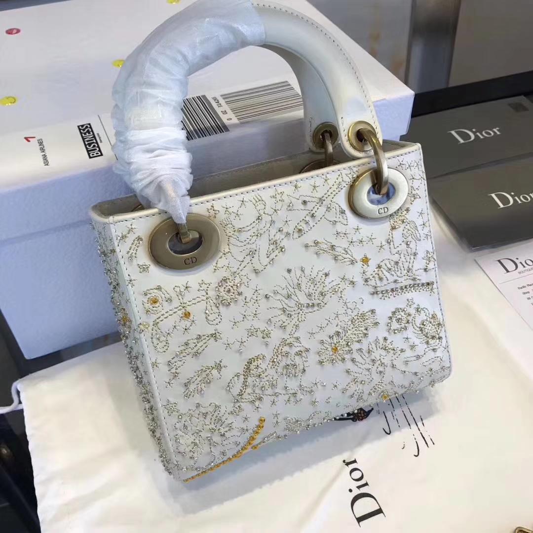 迪奥新款戴妃包 LadyDior mini白色星空系列手提包单肩斜挎女包17cm