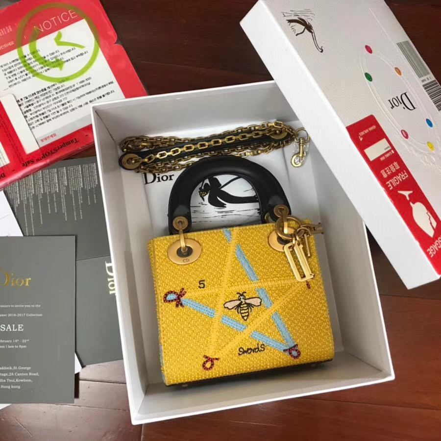 迪奥新款戴妃包 Lady Dior mini17CM 全手工缝制塔罗牌星系列绣珠迷你戴妃包