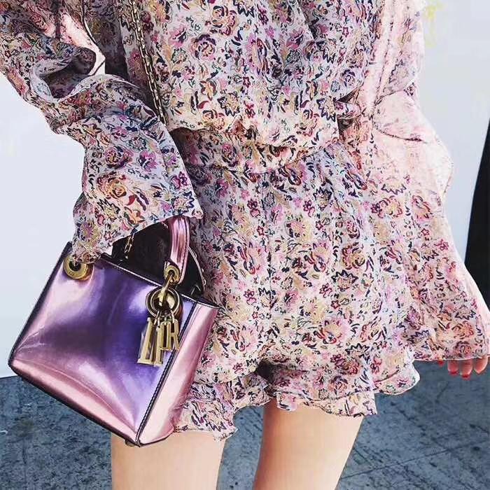 迪奥新款包包 mini Lady Dior粉色镜面系列迷你戴妃包迪奥女包17cm