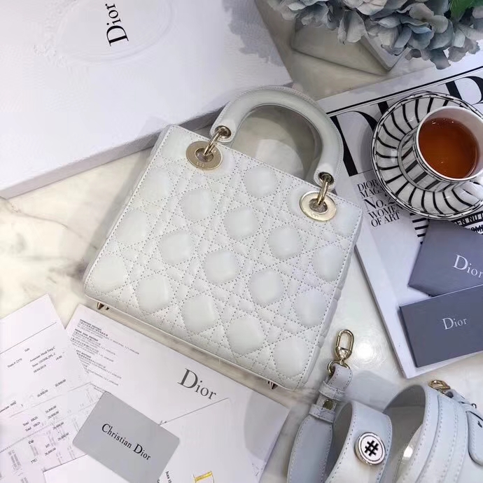 LadyDior mini 迪奥进口磨砂皮料徽章系列戴妃包四格20CM 白色