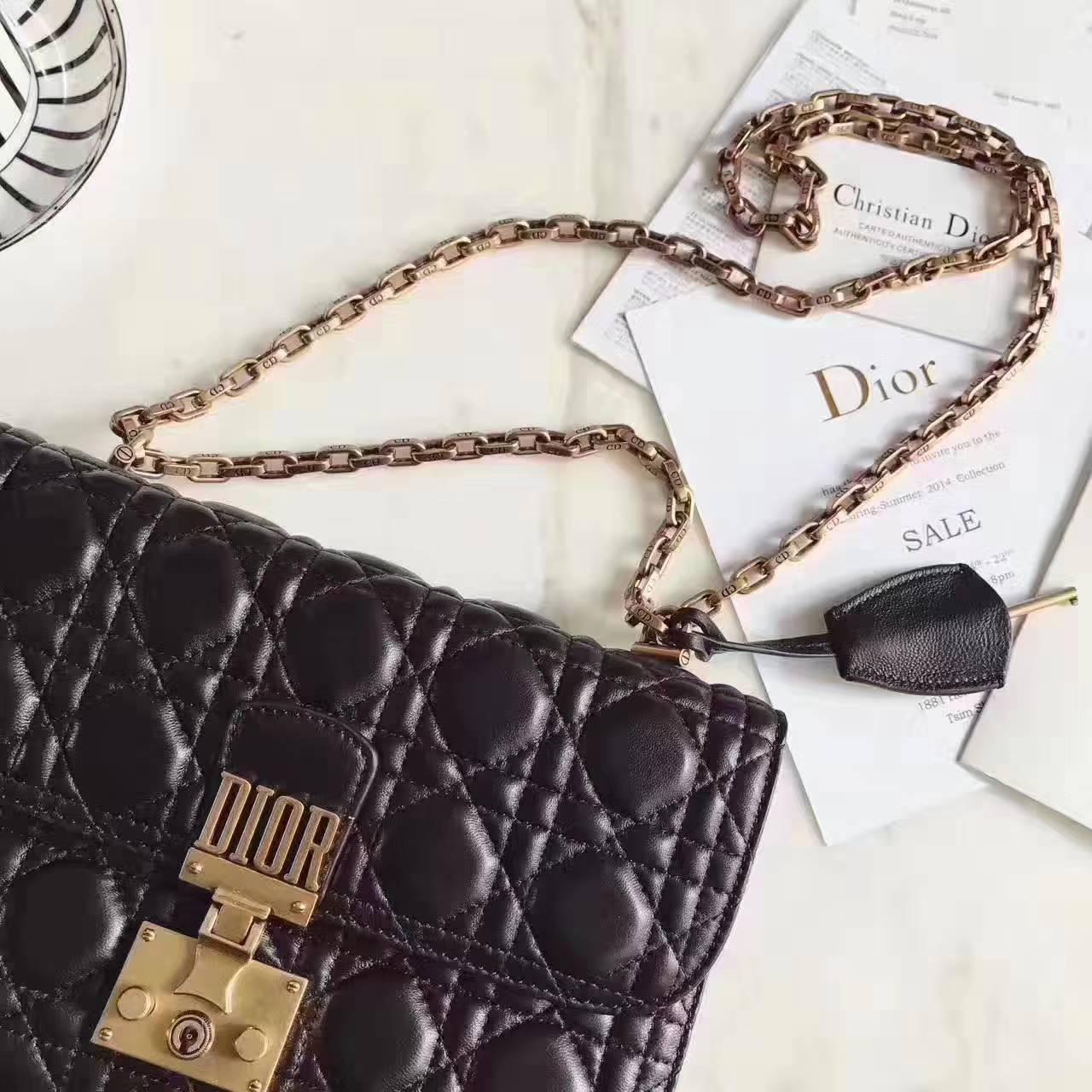迪奥包包官网 DiorAddict黑色菱格小羊皮复古链条单肩女包24cm