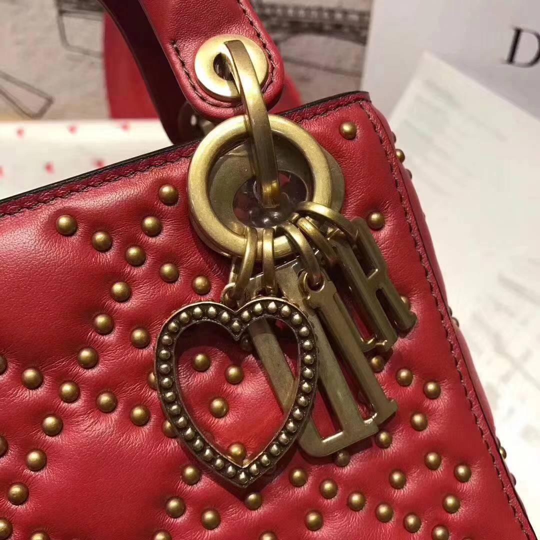 Dioramour 迪奥新款铆钉和甜心挂饰迷你戴妃包手提单肩女包 正红色