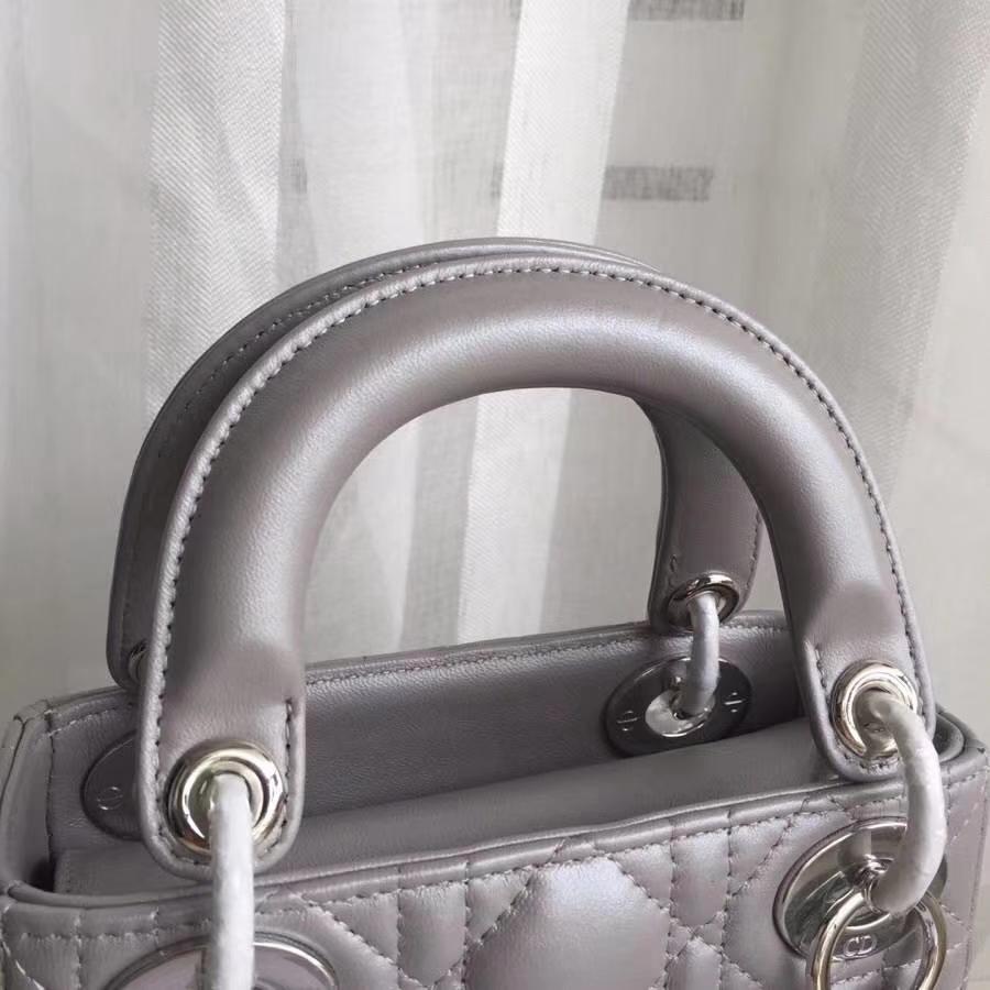 迪奥经典女包 Lady Dior 进口顶级小羊皮三格戴妃包mini17CM 灰色银扣