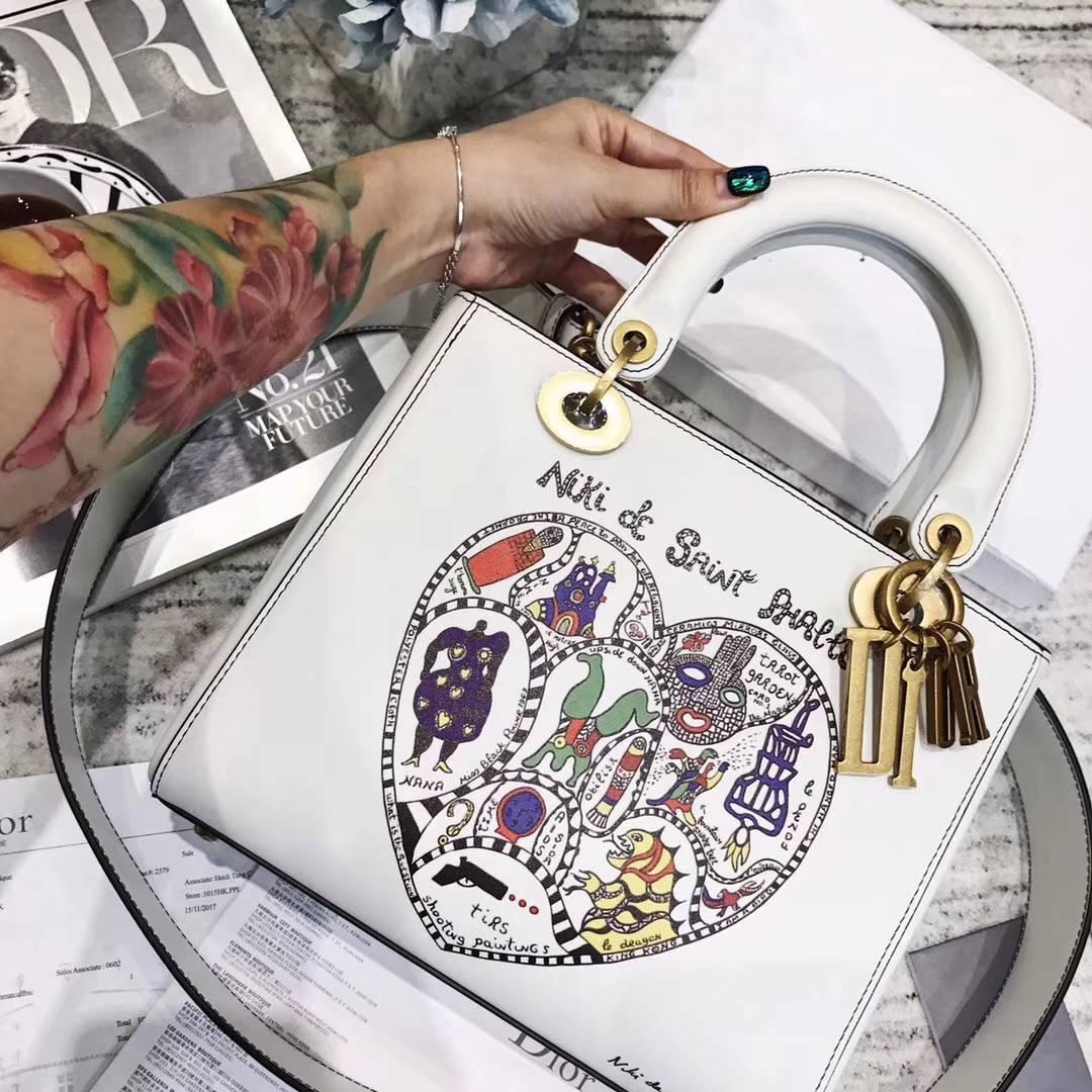 Lady Dior Niki de saint phalle合作款 迪奥18年新款爱心图案戴妃包大号24CM