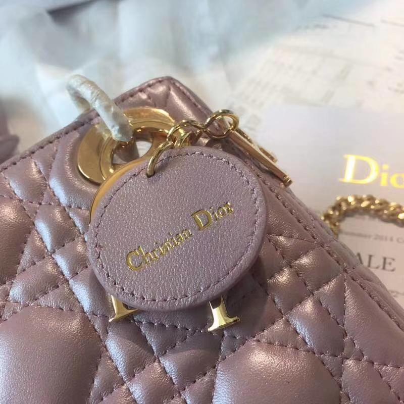 Dior包包官网 迪奥粉色顶级小羊皮三格戴妃包Lady Dior mini17CM 金扣