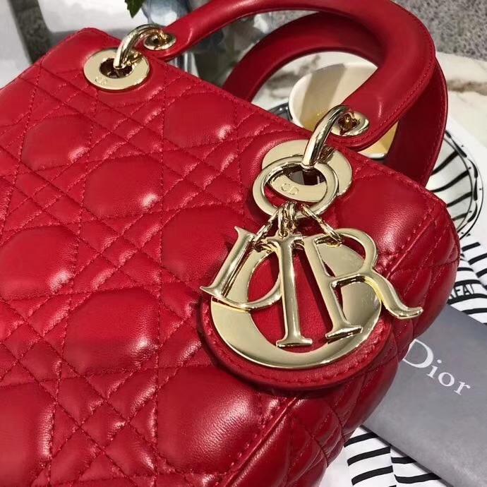 Lady Dior mini 迪奥红色进口磨砂皮料四格戴妃包菱格手提包20cm