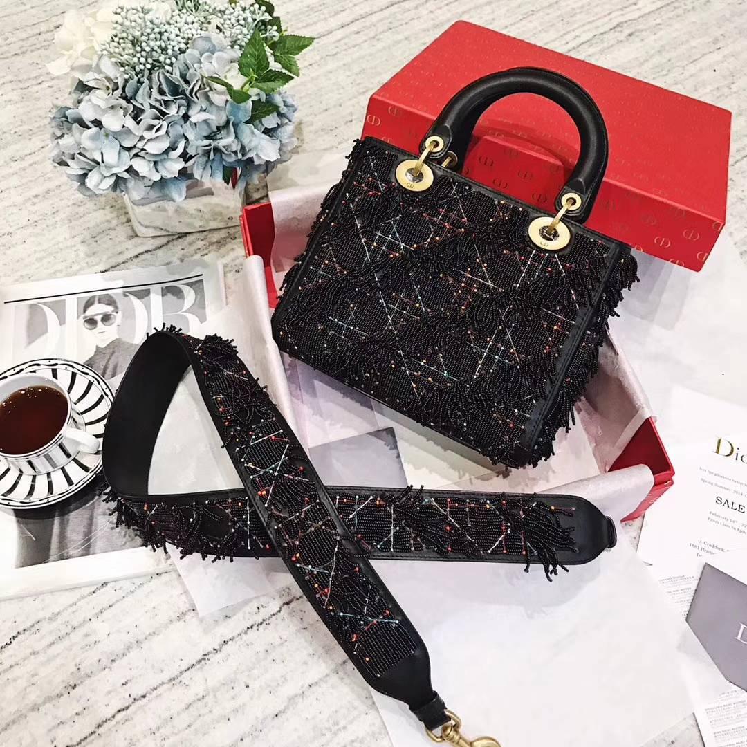 迪奥新款女包 Lady Dior黑色重工珠绣流苏款戴妃包中号24CM