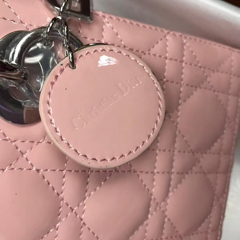 Lady Dior mini迪奥粉色牛皮漆皮三格迷你戴妃包手提单肩女包17CM 银扣