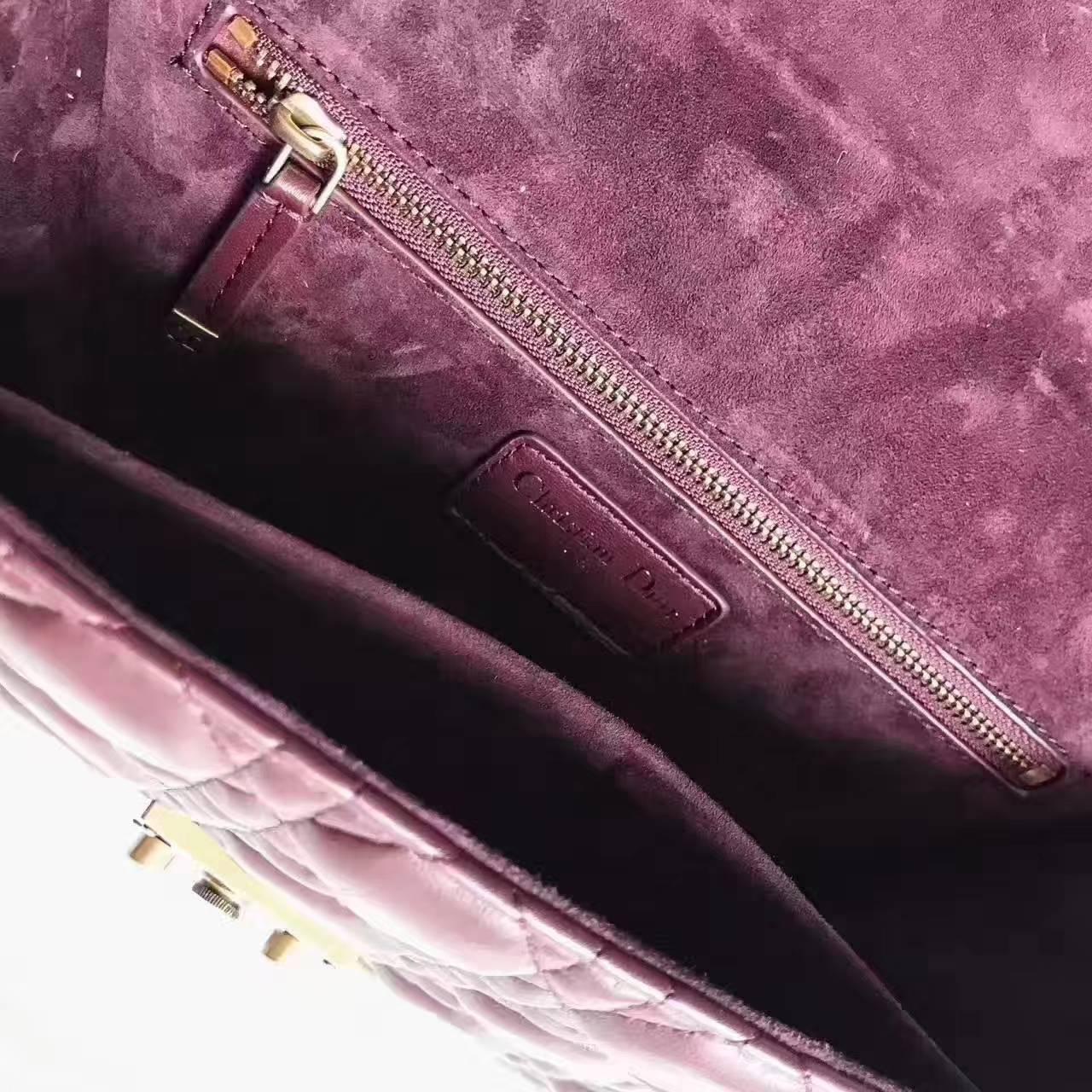 迪奥新款包包 DiorAddict酒红色菱格小羊皮复古链条包单肩女包24CM