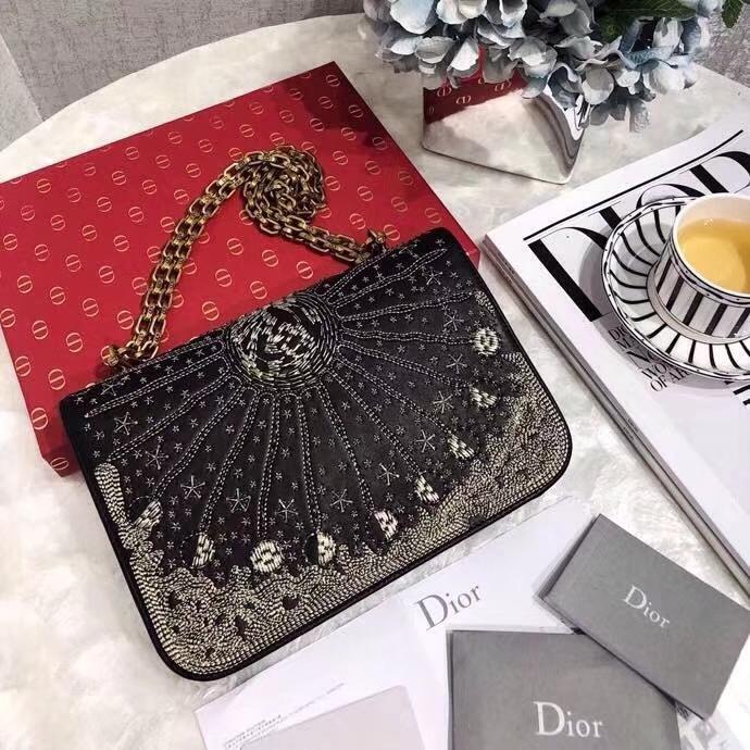 迪奥新款女包 Dior Addict漫天星辰金银色刺绣图案链条单肩包24CM