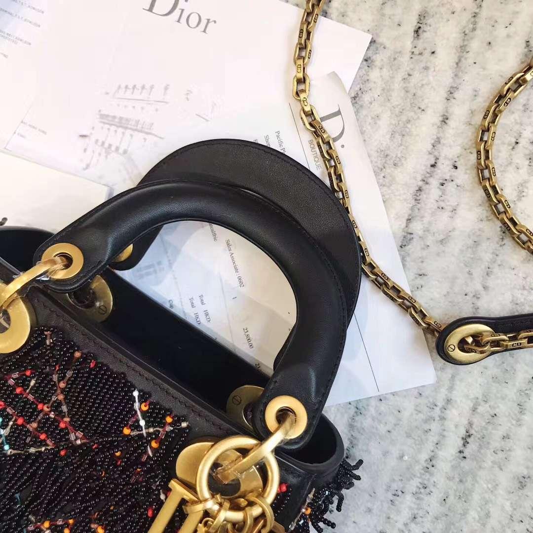 Dior新款女包 迪奥串珠小流苏Lady Dior min迷你戴妃包17CM 黑色