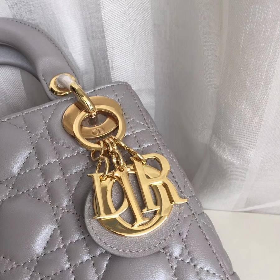 Lady Dior mini17CM 迪奥灰色小羊皮菱格三格迷你戴妃包手提女包 金扣