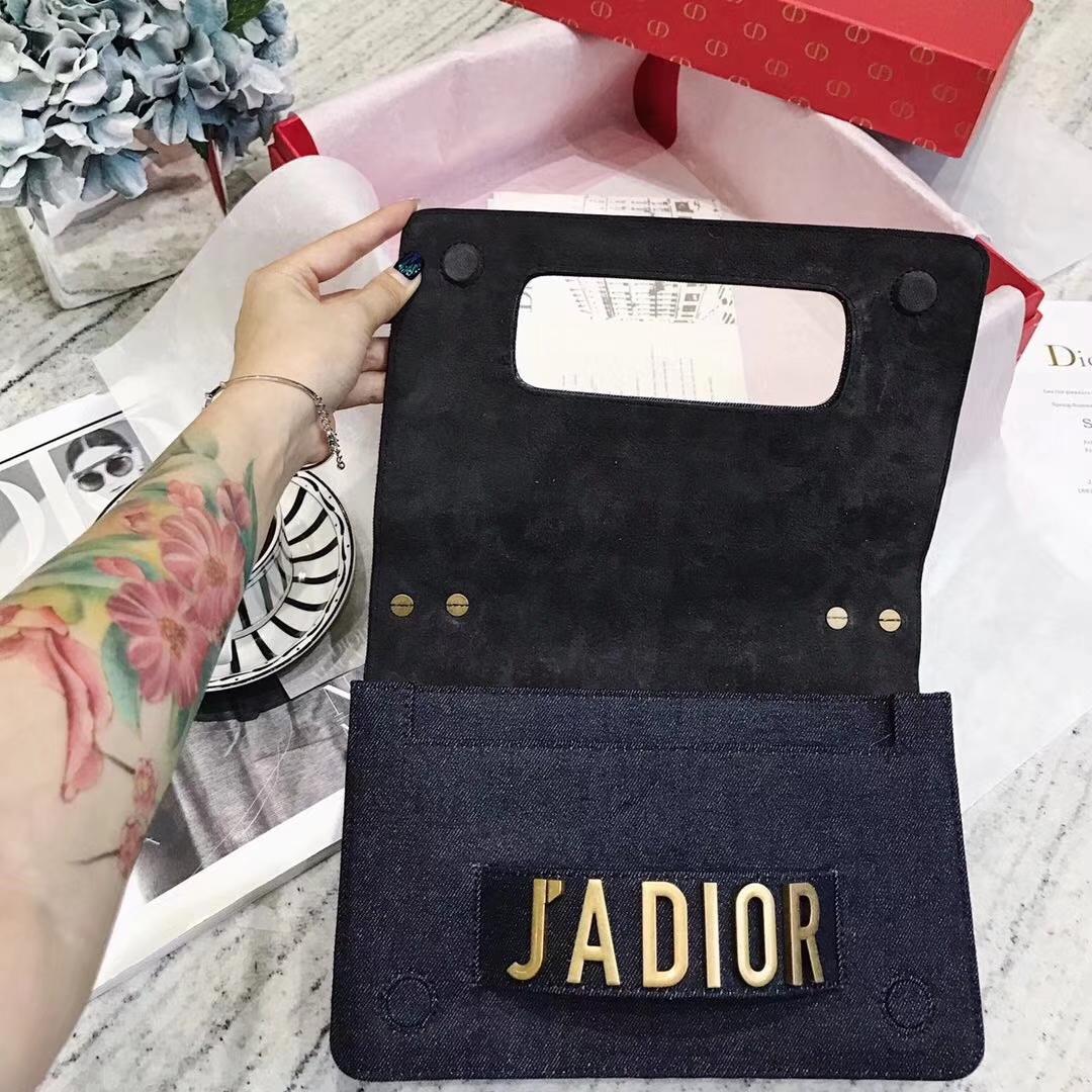 迪奥女包批发 J'ADIOR牛仔风珠绣度假系列链条单肩包手拿包25CM