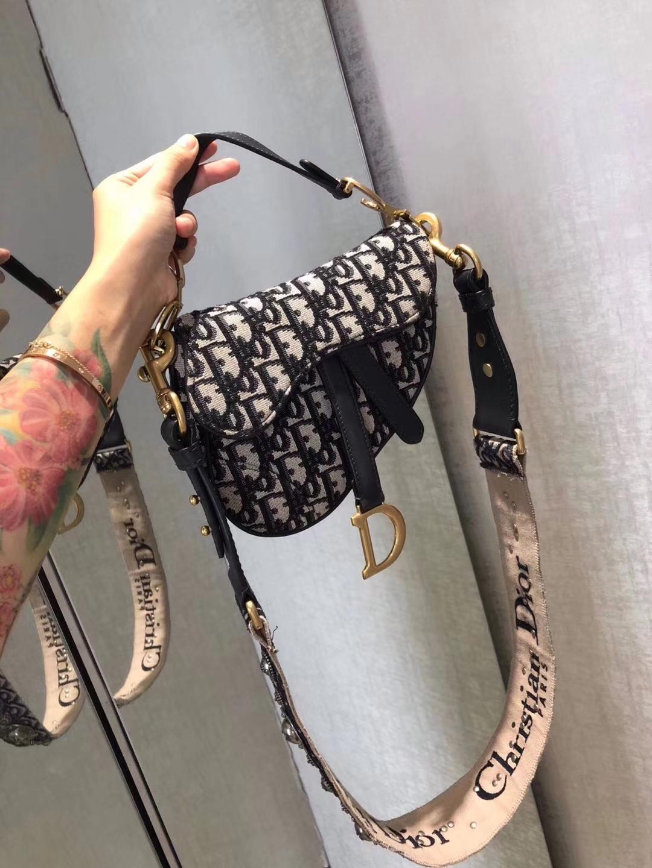 迪奥包包官网 Dior SaddleBag复古老花帆布单肩包马鞍包小号20CM