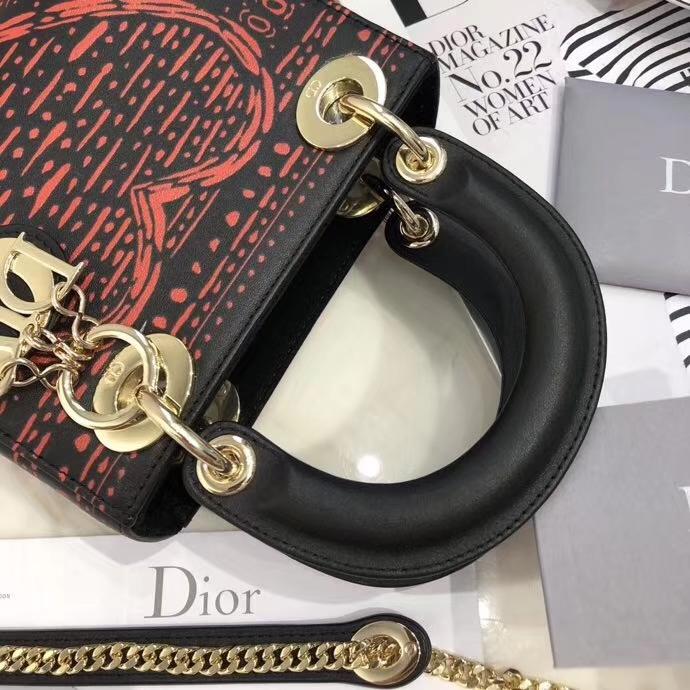 迪奥2018新款女包 LadyDior mini17cm 扑克风印花迷你戴妃包 金扣