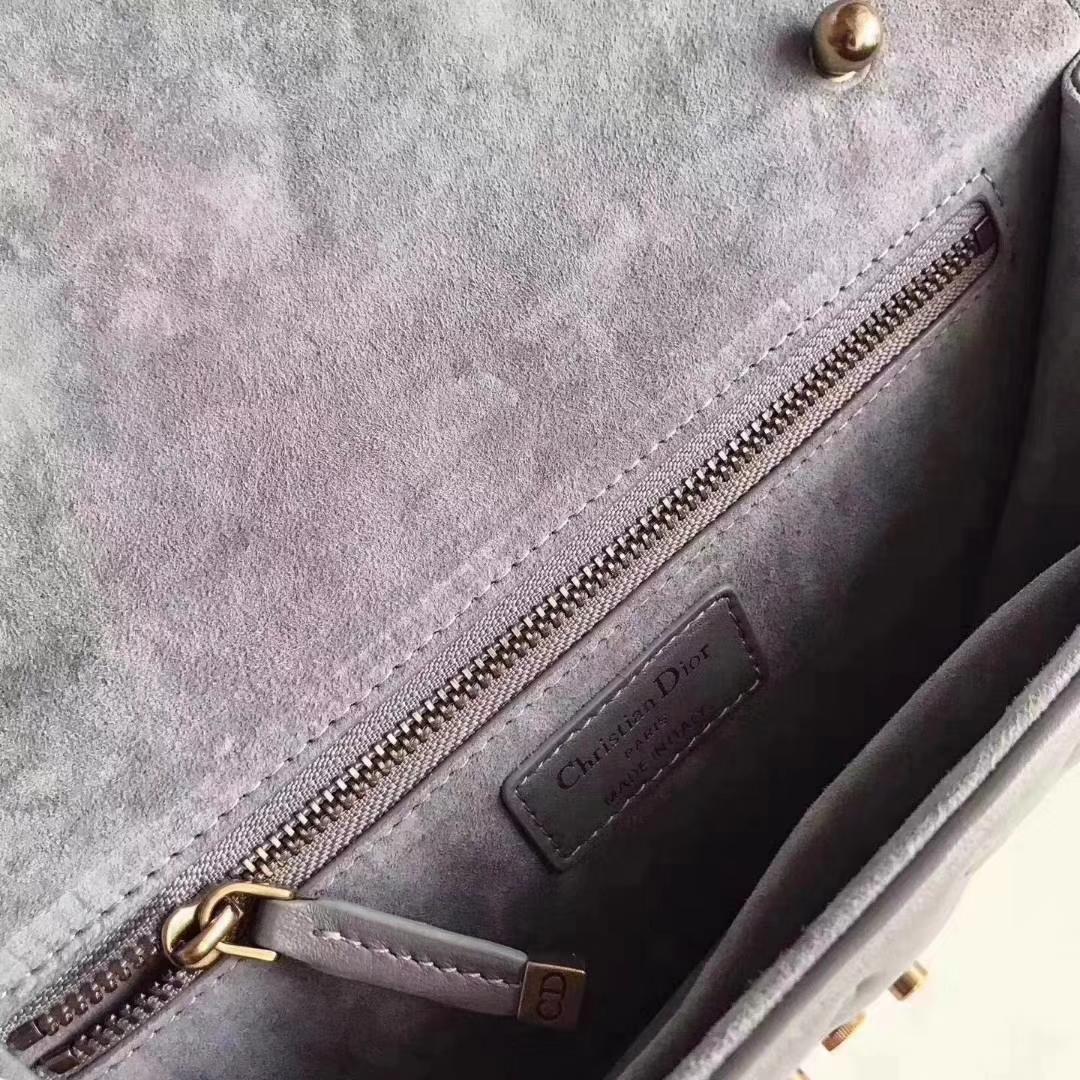 迪奥新款女包 DiorAddict小羊皮铆钉复古链条包单肩包24CM 灰色