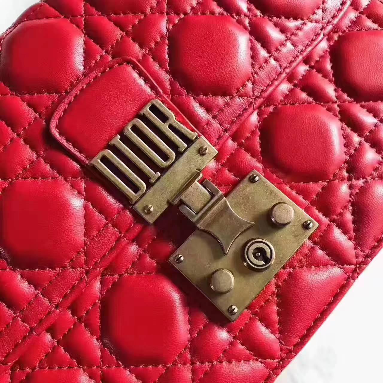Dior包包官网 迪奥顶级小羊皮菱格DiorAddict链条包单肩包包24cm 大红色