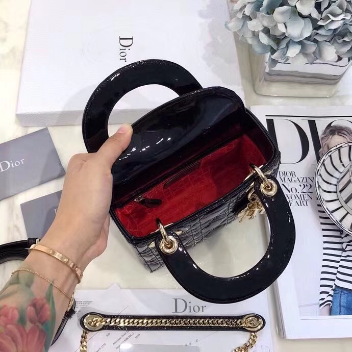 Mini Lady Dior17CM 迪奥经典款漆皮戴妃包三格手提斜挎女包 黑色金扣