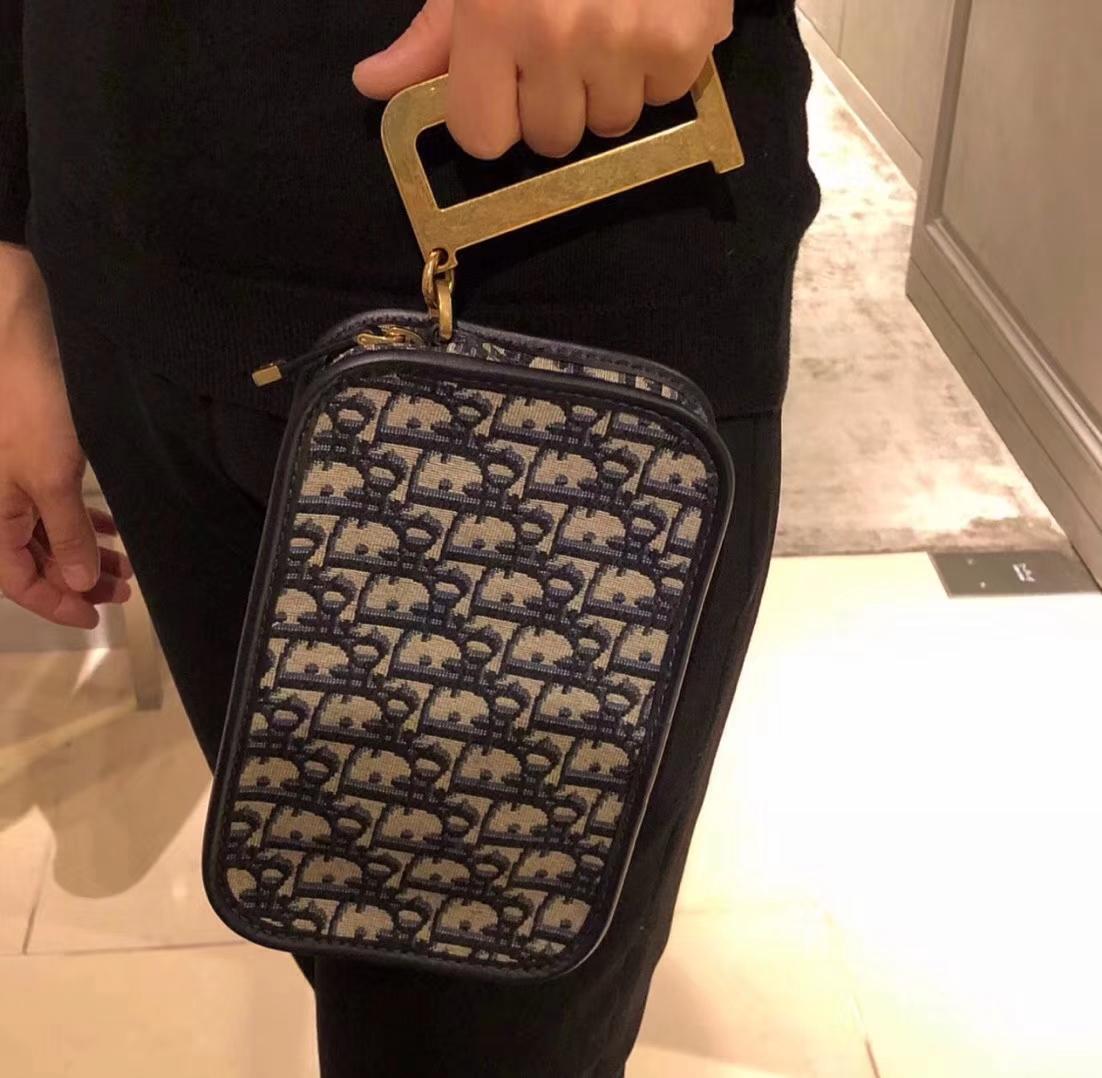 Dior Oblique系列包包 迪奥秋冬新款帆布材质相机包D字扣手拎包斜挎女包19CM