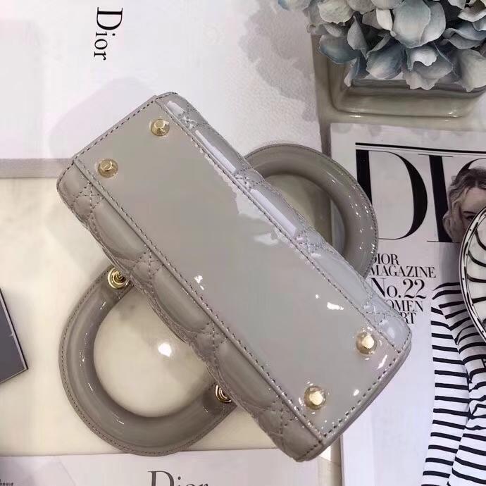 Dior包包价格 迪奥灰色原单漆皮三格迷你戴妃包mini Lady Dior17CM 金扣
