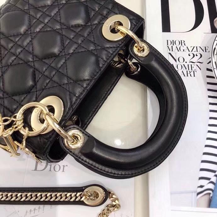 Dior包包官网 迪奥经典款黑色羊皮三格迷你戴妃包Lady Dior mini17CM 金扣