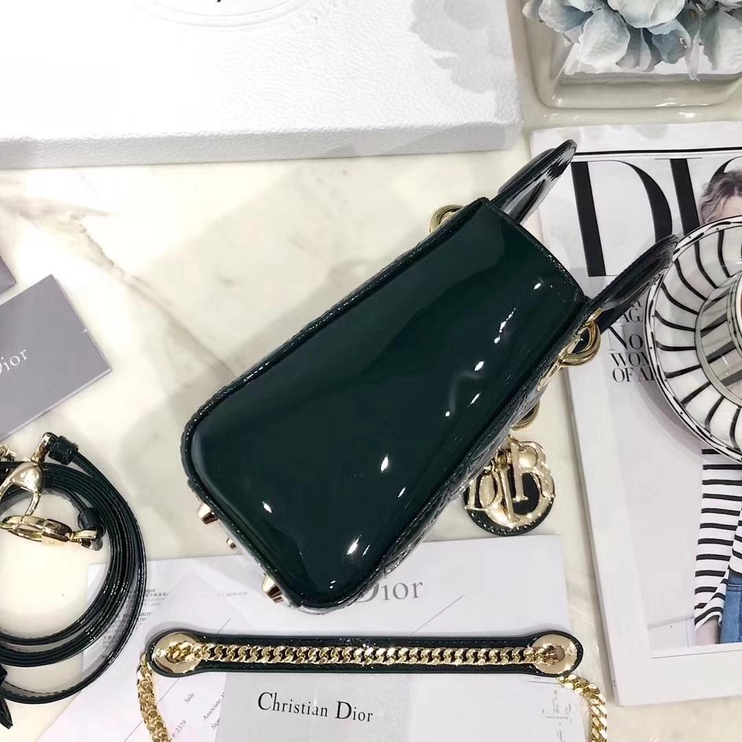迪奥经典戴妃包 Lady Dior mini17CM墨绿色原单三格漆皮戴妃包 金扣