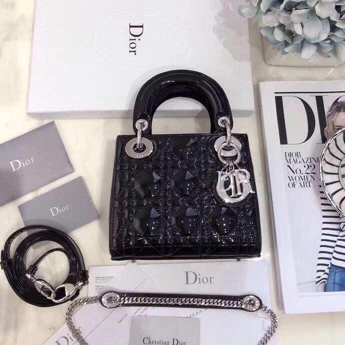 Dior包包批发 迪奥黑色顶级漆皮三格迷你戴妃包mini Lady Dior17CM 银扣