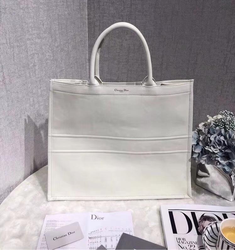 迪奥新款女包 Dior Book Tote原单皮料大容量手提包旅行袋42CM 白色
