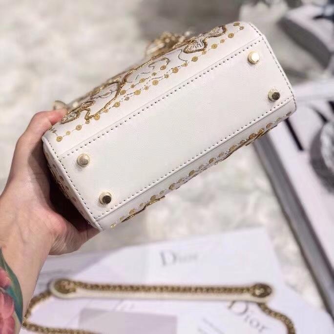 Dior包包官网 迪奥限量版金丝四叶草迷你戴妃包Lady Dior mini17CM