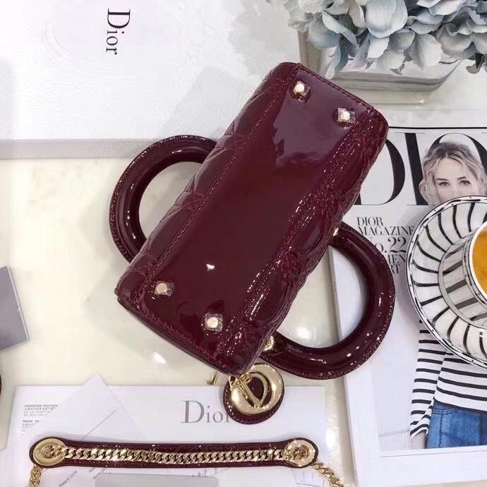 Dior经典女包 迪奥酒红色原单漆皮三格戴妃包Lady Dior mini17CM 金扣