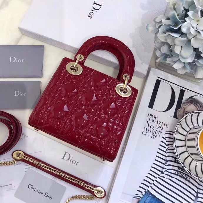 迪奥经典戴妃包 MiniLady Dior17CM 漆皮戴妃包三格斜挎女包17CM 红色金扣