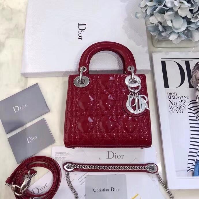 Dior包包价格 迪奥红色漆皮经典三格迷你戴妃包链条单肩包 银扣