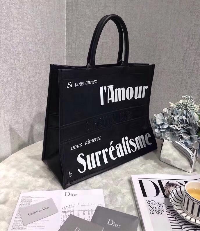 Dior新款包包 迪奥2018新款真皮Book Tote复古手提大包电脑包42CM 黑色