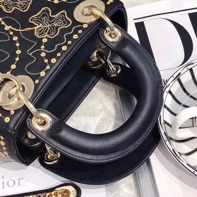 广州白云皮具城 迪奥新款女包 Mini Lady Dior限量版金丝四叶草戴妃包 黑色