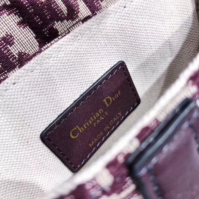 Dior Saddle Bag 迪奥酒红色经典老花帆布马鞍包单肩斜挎女包小号20cm
