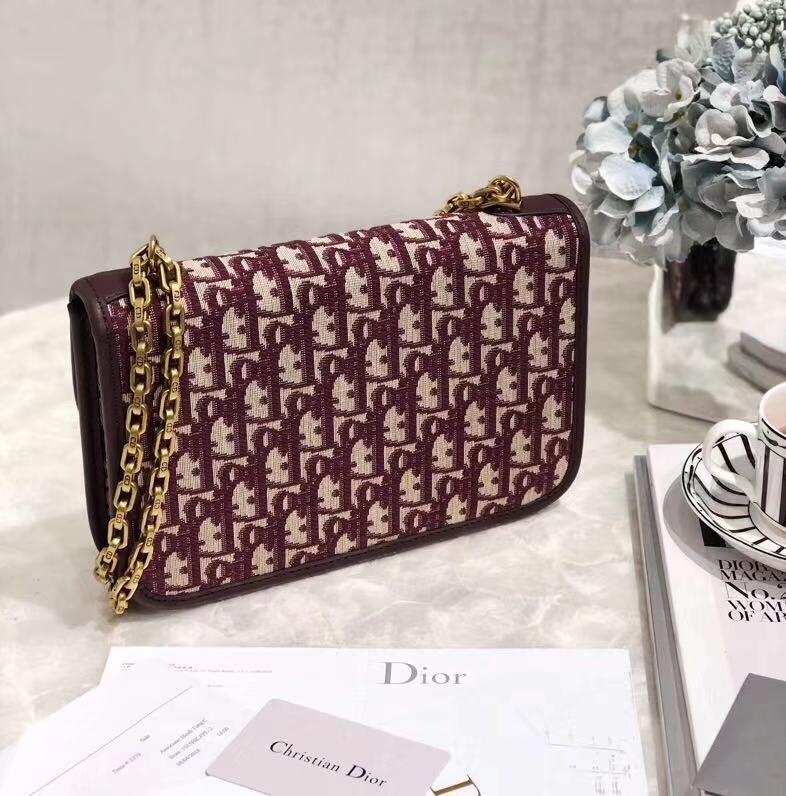 迪奥新款女包 Dior酒红色经典帆布Logo Dioradict链条单肩斜挎包21cm