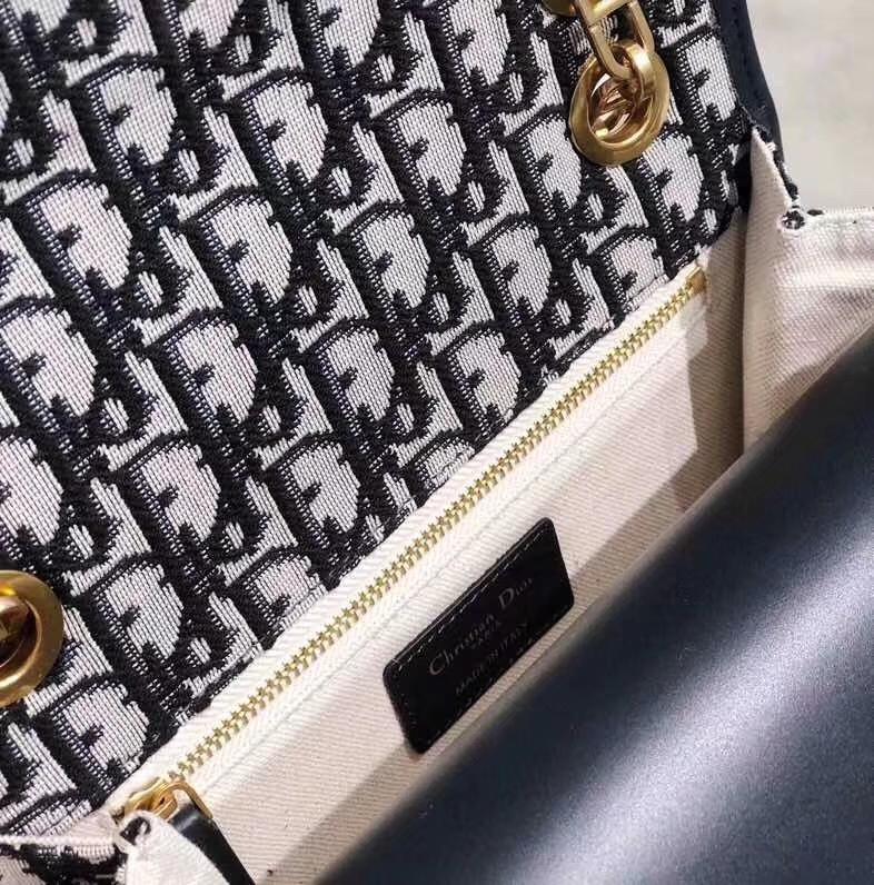 迪奥经典帆布包 Dioradict黑色经典帆布Logo链条单肩斜挎女包22cm