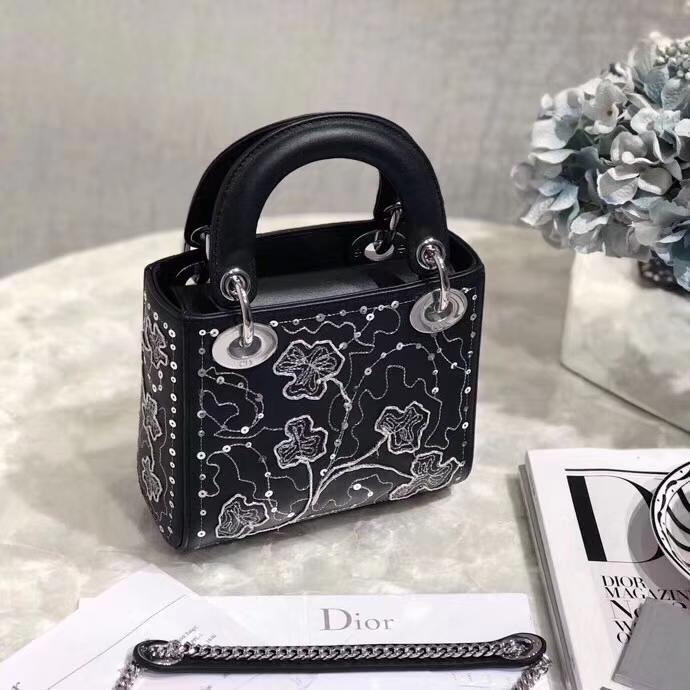 Dior新款女包 迪奥黑色顶级材质限量版金丝四叶草Lady Dior mini三格戴妃包 银扣