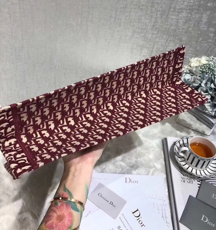 Dior Book Tote 迪奥复古风老花帆布手提公文包旅行包 酒红色
