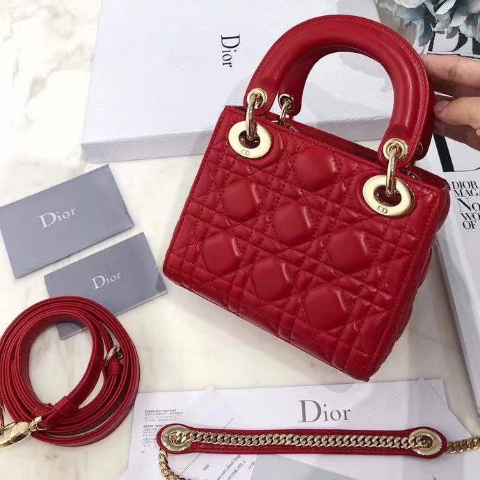 迪奥戴妃包价格 Dior法国红原单羊皮三格戴妃包mini Lady Dior17CM 金扣