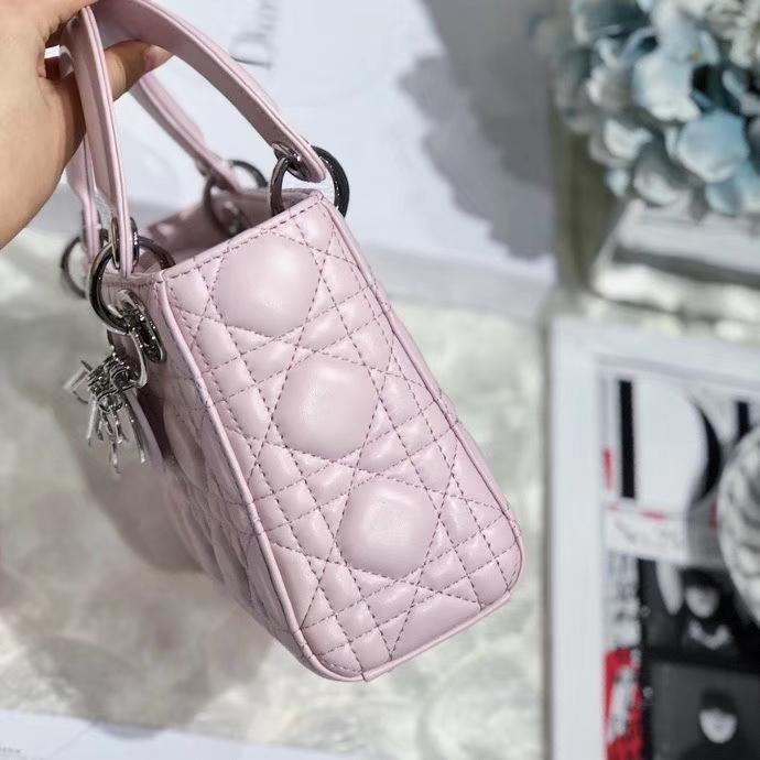 Dior经典女包 迪奥顶级三格羊皮迷你戴妃包Lady Dior mini17CM  樱花粉银扣