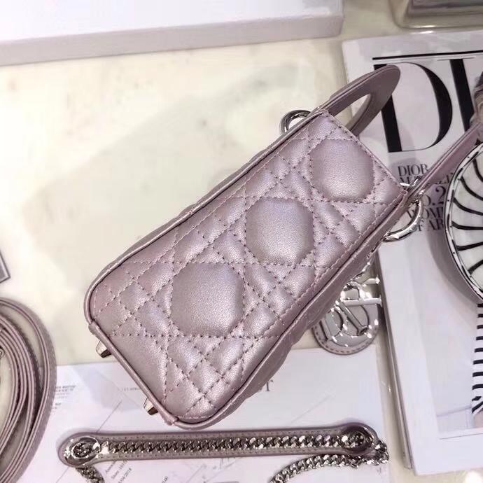 Dior经典女包 迪奥原单羊皮三格迷你戴妃包Lady Dior mini17CM 闪电粉银扣