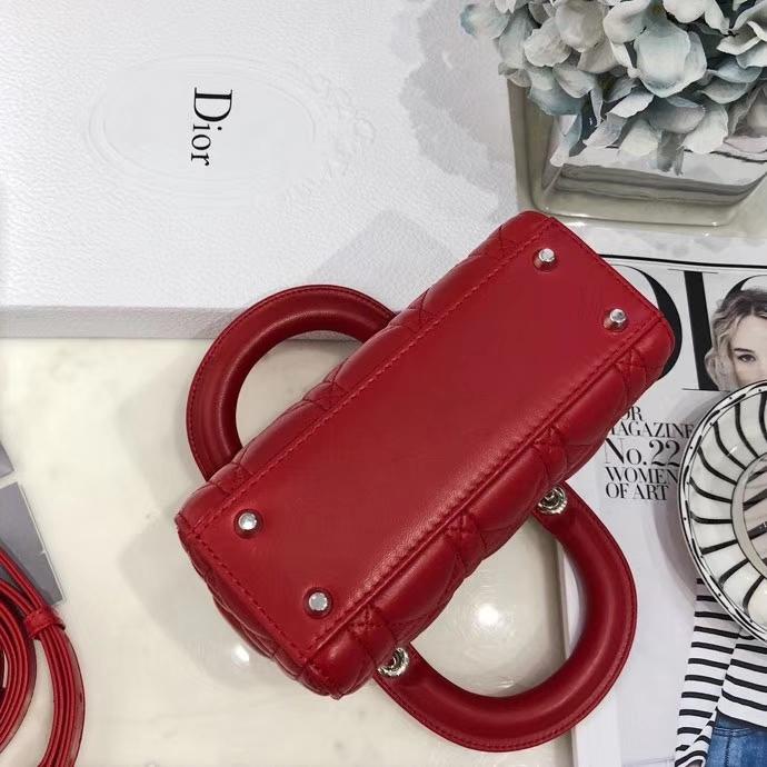 Dior包包批发 迪奥经典三格迷你戴妃包羊皮Lady Dior mini17CM 法国红银扣