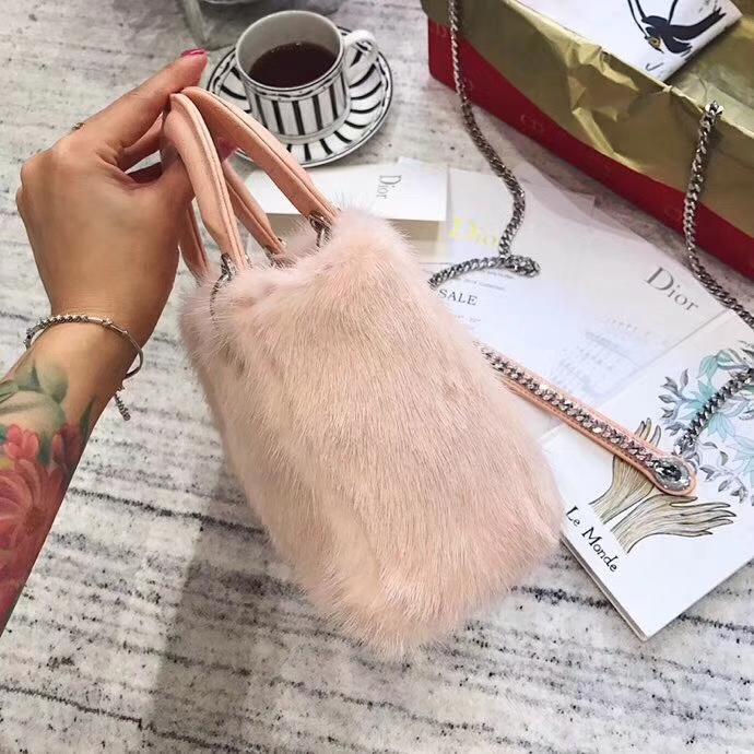 Dior包包官网 迪奥粉色进口水貂毛三格戴妃包Lady Dior mini17CM