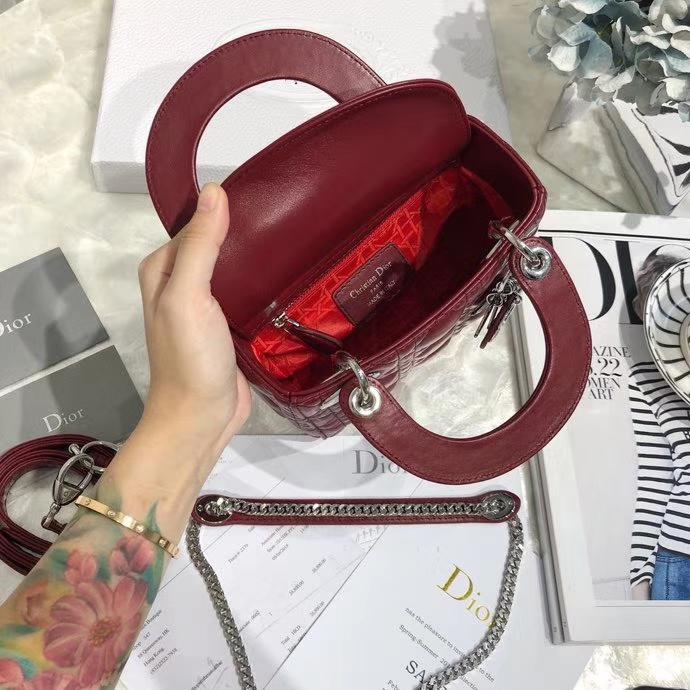 迪奥包包官网 Mini Lady Dior 顶级羊皮三格戴妃包经典款手提斜挎女包 酒红色银扣