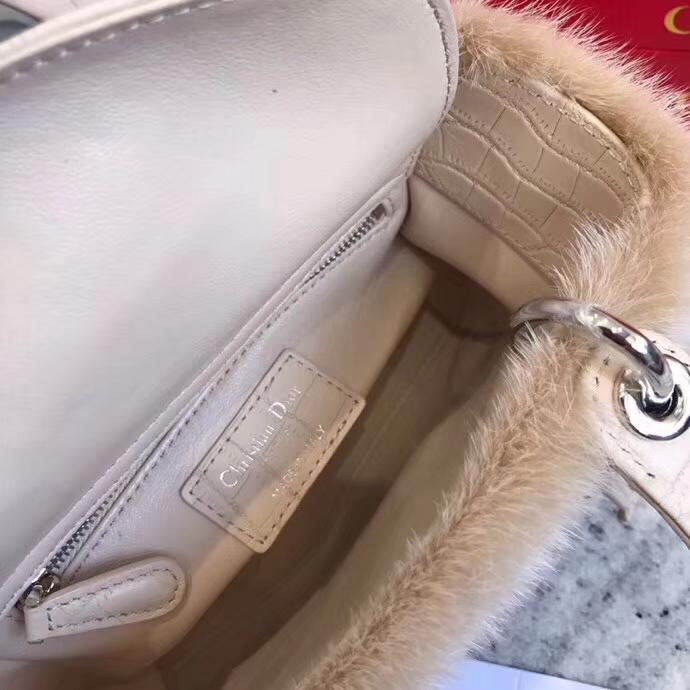 迪奥新款戴妃包 mini Lady Dior水貂系列三格戴妃包手提斜挎女包17CM 杏色