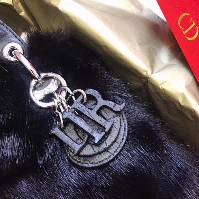 Mini Lady Dior17CM 迪奥高档水貂毛迷你三格戴妃包链条斜挎女包手提包 黑色