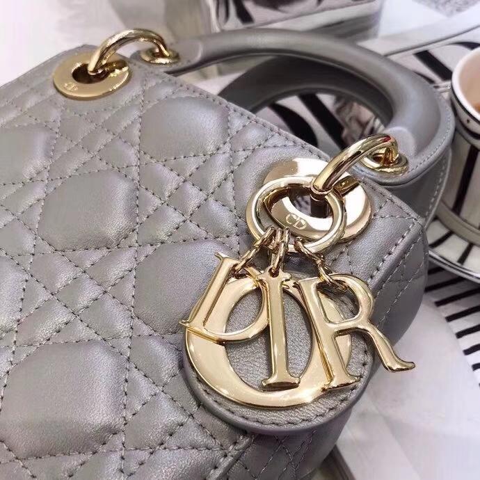 Lady Dior mini17CM 迪奥珍珠灰顶级羊皮三格戴妃包单肩斜挎女包17CM 金扣