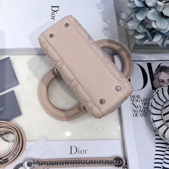 Dior包包价格 迪奥顶级羊皮三格戴妃包Lady Dior Mini17CM 裸粉色银扣