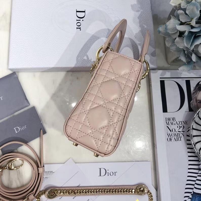 迪奥经典戴妃包三格 mini Lady Dior裸粉色进口顶级羊皮链条斜挎包17CM 金扣